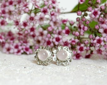 Small Flower Stud Earrings Sterling Silver Rose Quartz Post Earrings Floral Nature Jewelry Daisy Rose Stud Earrings