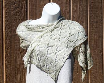 Silk Scarf Hand Knit in Green