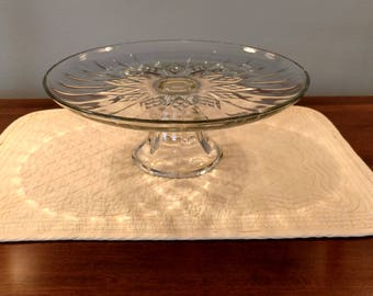 Cake Stand Clear Cut-Glass with Pedestal Elegant for Weddings Birthdays Cupcakes Celebrations