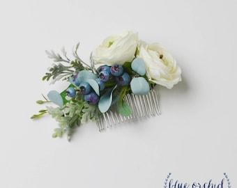 Wedding hair comb wedding hair accessory bride flower comb flower comb floral comb silk flower comb artificial flower comb blue mightylinksfo