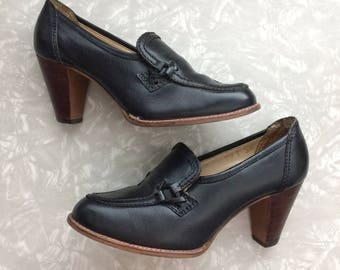 Black High Heels - Vintage Leather Shoes Ladies Size 5 1/2
