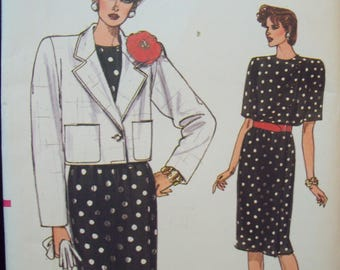 Unlined, Below Waist Jacket and Straight Dress Very Easy Very Vogue Pattern 9495 Uncut Sizes 8-10-12