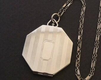 Vintage Art Deco Octagonal Sterling Silver Locket Necklace
