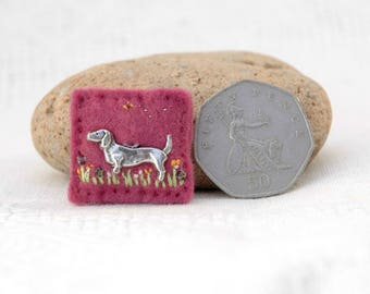 dachshund brooch, mini brooch, silver dachshund badge, handcrafted dog brooch, pink sausage dog pin, little gifts with love, UK doxie gift
