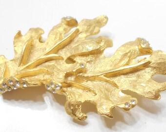 Vintage Rhinestone Leaf Brooch (957) Classic!!