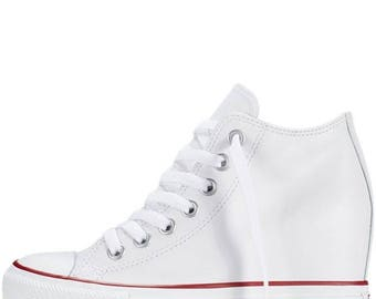 White Converse Rise Lux Wedge Heel High Top Custom Leather w/ Swarovski Rhinestone Crystal Bling Chuck Taylor All Star Trainer Sneaker Shoes