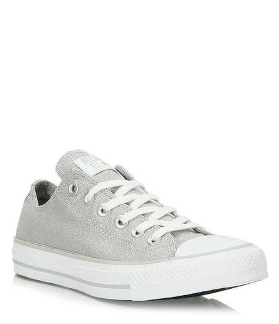 Converse Silver Gray Glamour Mouse Low Top Custom Glass Slippers w/ Swarovski Crystal Chuck Taylor Rhinestone Bling All Star Sneakers Shoes