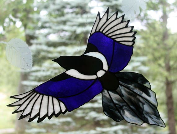 Stained Glass Iridescent Magpie