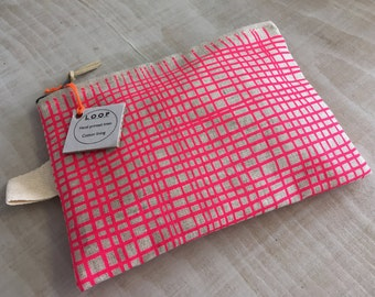 Purse-printed linen 'CROSSHATCH PINK'