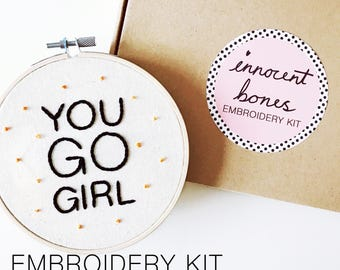 YOU GO GIRL Polka Dot Modern Embroidery Kit - easy to follow design with guide - rude badtaste pop culture stitch subversive sewing