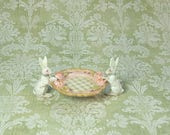 French Cottage Shabby Spring White Rabbits Pink or Green Sculpted Rose Tray Dish - hand-painted Jill Dianne Dollhouse Miniatures