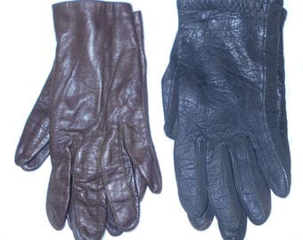 Vintage gloves ladies leather 1950s Van Raalte and Grandoe doeskin leather 2 pairs Size XS Free USA Shipping