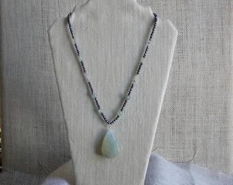 Prehnite & Hematite Pendant Necklace