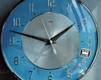 Vintage METAMEC electric wall clock -blue/black/silver 1960's