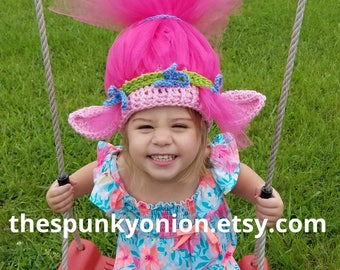 Trolls hat, child size, made to order, Poppy hat, Pink Troll hat, Trolls birthday party