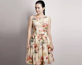 Floral Dress, Cotton Dress, Dress With Pockets, Custom made dress, Midi dress, 50's dress