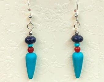 Gemstone Dangle Earrings in Red Coral, Lapis, & Turquoise on Sterling Silver, Southwestern Design Earrings, Casual Earrings, Spike Earrings