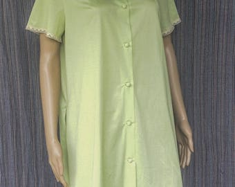 Nylon Summer Pale Green Short Button up Night gown/ Robe FREE SHIPPING!!