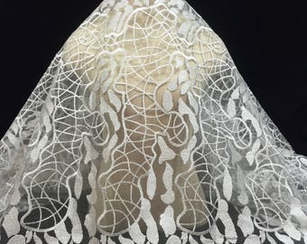 Silver Embroidered Tulle, Embroidered Lace, Lace Fabric, Silver Material, Geometric Embroidered Lace, Lace Embroidery, Dress Fabric