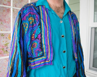 Vintage Colorful Paisley Stripes Pattern Shirt
