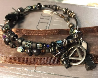 AA sobriety 12 step recovery bracelet, Alcoholics anonymous, rule 62, sponsor anniversary gift,AA bracelet,