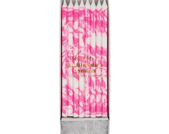 Neon Pink Marble Birthday Cake Candles- 24 ct | tall birthday candles | skinny birthday candles | Meri Meri