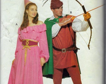 """Vintage 1991 Butterick 5749 Robin Hood and Maid Marian Costumes Sewing Pattern Size L-XL Bust 38-44"""" Chest 42""""-48"""""""