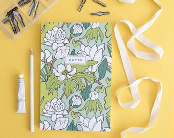 Notebook - Water Lily & Lotus // Floral Hand-Illustrated Journal // Botanical Notes Diary // Softcover Book // School Journal, Teacher Gift