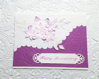 Purple and White Happy Annniversary,  Happy Birthday - embossed - elegant cards - floral - flowers - Hand stamped cards - Wcards