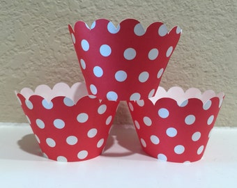 Mickey Mouse Cupcake Wrappers set of 12 Ready to Ship, red polka dot cupcake wrappers, sock monkey cupcake wrappers, circus cupcake weappers