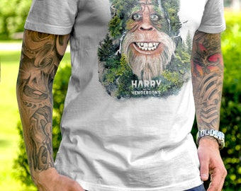 T Shirt of my Harry Bigfoot tribute painting art clothing design for Men and Women by Barrett Biggers