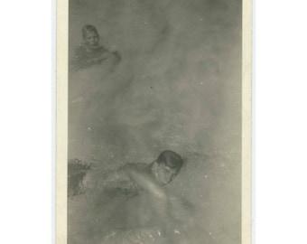 Vintage Photo Snapshot: Two Boys Swimming (76587)
