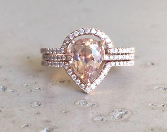 morganite engagement ring rose gold morganite engagement ring pear shape morganite engagement ring - Morganite Wedding Ring Set
