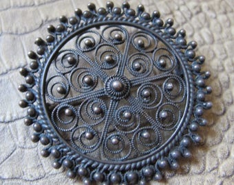 Exotic Handmade Cannetille Filigree Sterling Silver Brooch Pin. Etruscan Revival 925 Silver Jewelry. Vintage Brooch /Pendant Use. 925 SILVER