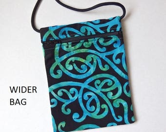 Pouch Zip Bag NZ BATIK Fabric.  Small fabric Purse. Great for walkers, markets, travel. Cell Phone Pouch.  aqua black sling bag 6.75 x 5""