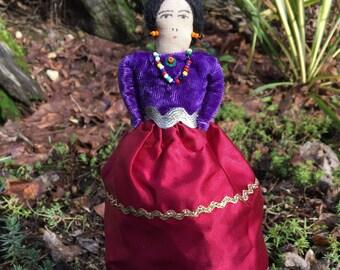 "Handmade Navajo Cloth Doll, American Indian Doll, Native American Doll, Collectible Cloth Doll, Primitive Cloth Doll, 7"" doll"