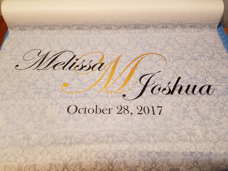 Custom wedding aisle runner, names date monogram , SHEER floral ...