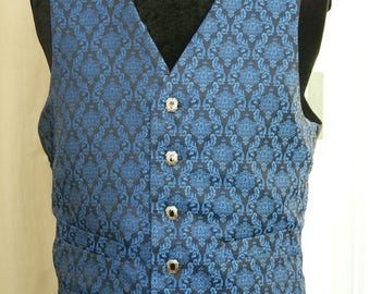 Blue and Black brocade Waistcoat Goth Steampunk Victorian Chap Groom Wedding Obsidian NEW