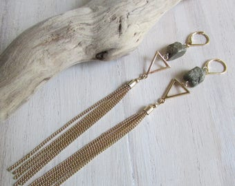 Earrings Pyrite and metal tassel
