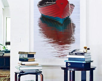 Framed Vertical Boat Photography, Martha's Vineyard Art, Red Rowboat Photo, Vineyard Haven Print, Wooden Dory Picture Nautical Coastal Decor