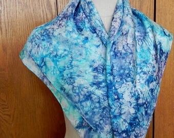 "30"" square silk scarf hand dyed in shades of purple violet and turquoise blue is ready to ship, silk scarf # 544"