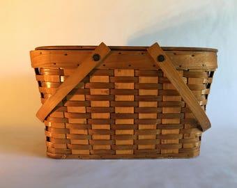 Antique Vintage Old Wood Picnic Basket