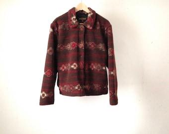 vintage WOOLRICH woman JACKET warm heather FLEECE coat size medium