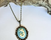 Mermaid Cameo Necklace /  Nautical Cameo / Costume Jewelry / Antique Bronze Necklace / Gift For Her / Blue Mermaid/ Mermaid Life ?Beach Life