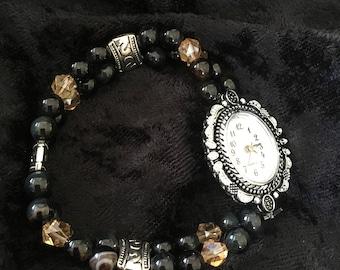 Black Agate & Swarovski Watch