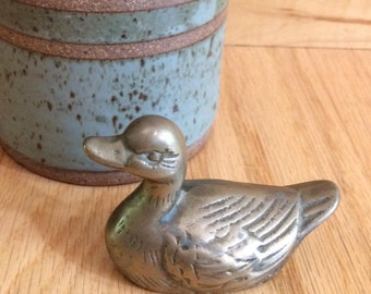 vintage little brass duck