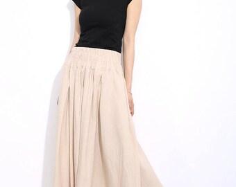 Maxi Skirt, linen skirt, womens skirts, beige skirt, skirts, long skirt, cream maxi skirt, plus size maxi skirt, pleated skirt (C325)