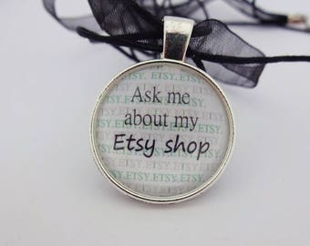 Etsy pendant,Etsy necklace,Etsy charm,Girl Boss,Lady Boss,Etsy Shop Owner,Ask Me About My Etsy Shop, Etsy seller gift,Small Business owner