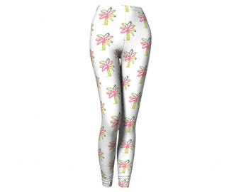 Tree Leggings - FREE SHIPPING to USA miami palm trees printed leggings spandex tights polyester pink pastels neon pop colorful yoga pants