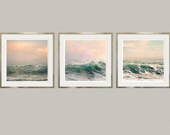 Large wall art prints, Set of 3 Sea art photography, Ocean prints, surf art, Coastal decor, Wave art, set of art prints, 11x14, 16x20 prints